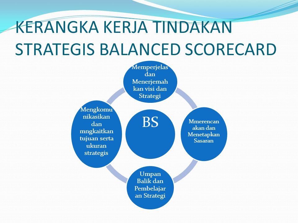 Balanced Scorecard Adalah kumpulan ukuran kinerja yang terintegrasi yang diturunkan dari strategi perusahaan yang mendukung strategi perusahaan secara keseluruhan dan memberikan suatu cara untuk mengkomunikasikan strategi suatu perusahaan di seluruh organisasi.