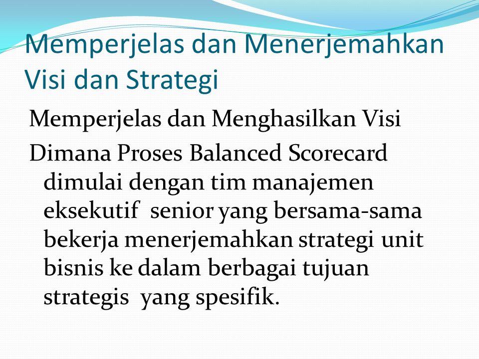 Peosedur Penerapan Balanced Scorecard Memperjelas dan menerjemahkan visi dan strategi Mengkomunikasikan dan mengkaitkan tujuan serta ukuran strategis Merencanakan, menetapkan sasaran, dan menyelaraskan berbagai inisiatif strategis Meningkatkan umpan balik dan pembelajaran strategis