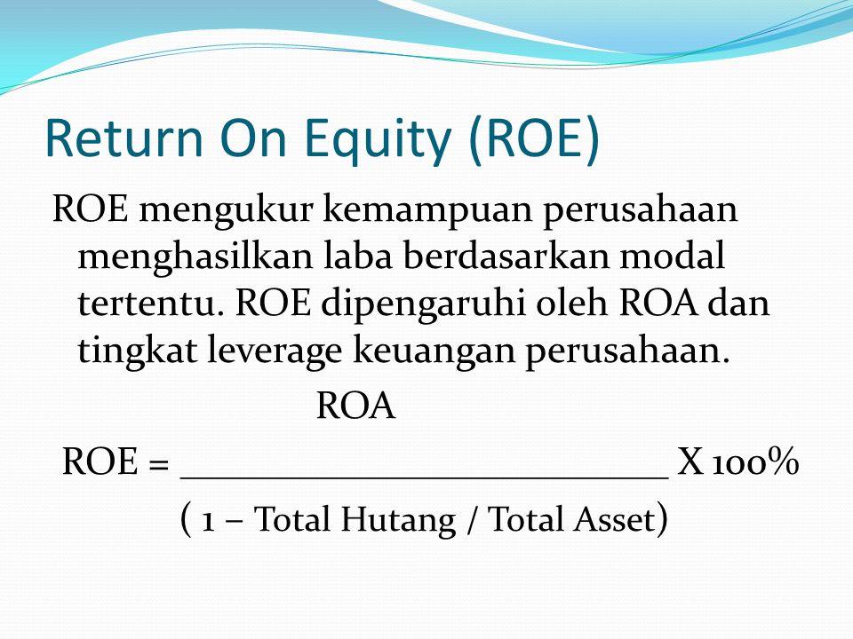 Return On Total Asset (ROA) ROA mengukur kemampuan perusahaan dalam menghasilkan laba bersih berdasarkan tingkat asset yang tertentu. ROA juga sering