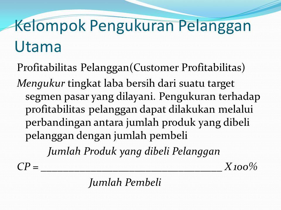 Kelompok Pengukuran Pelanggan Utama Kepuasan Pelanggan (Customer Satisfaction ) Menaksir tingkat kepuasan pelanggan terkait dengan kriteria kinerja tertentu.