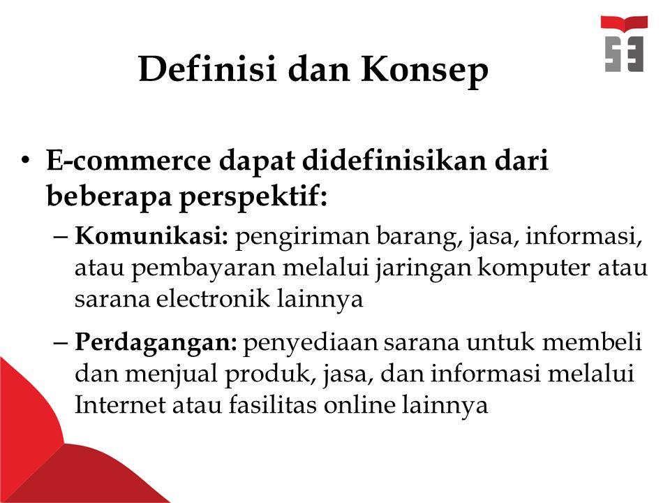 Definisi dan Konsep E-commerce dapat didefinisikan dari beberapa perspektif: – Komunikasi: pengiriman barang, jasa, informasi, atau pembayaran melalui jaringan komputer atau sarana electronik lainnya – Perdagangan: penyediaan sarana untuk membeli dan menjual produk, jasa, dan informasi melalui Internet atau fasilitas online lainnya