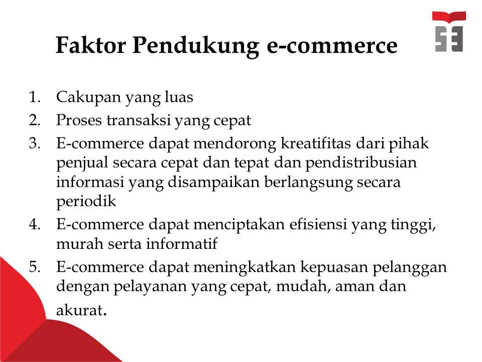 Faktor Pendukung e-commerce 1.Cakupan yang luas 2.Proses transaksi yang cepat 3.E-commerce dapat mendorong kreatifitas dari pihak penjual secara cepat dan tepat dan pendistribusian informasi yang disampaikan berlangsung secara periodik 4.E-commerce dapat menciptakan efisiensi yang tinggi, murah serta informatif 5.E-commerce dapat meningkatkan kepuasan pelanggan dengan pelayanan yang cepat, mudah, aman dan akurat.