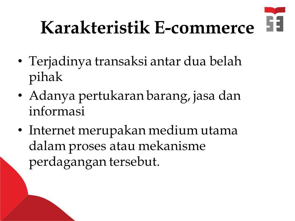 Karakteristik E-commerce Terjadinya transaksi antar dua belah pihak Adanya pertukaran barang, jasa dan informasi Internet merupakan medium utama dalam proses atau mekanisme perdagangan tersebut.