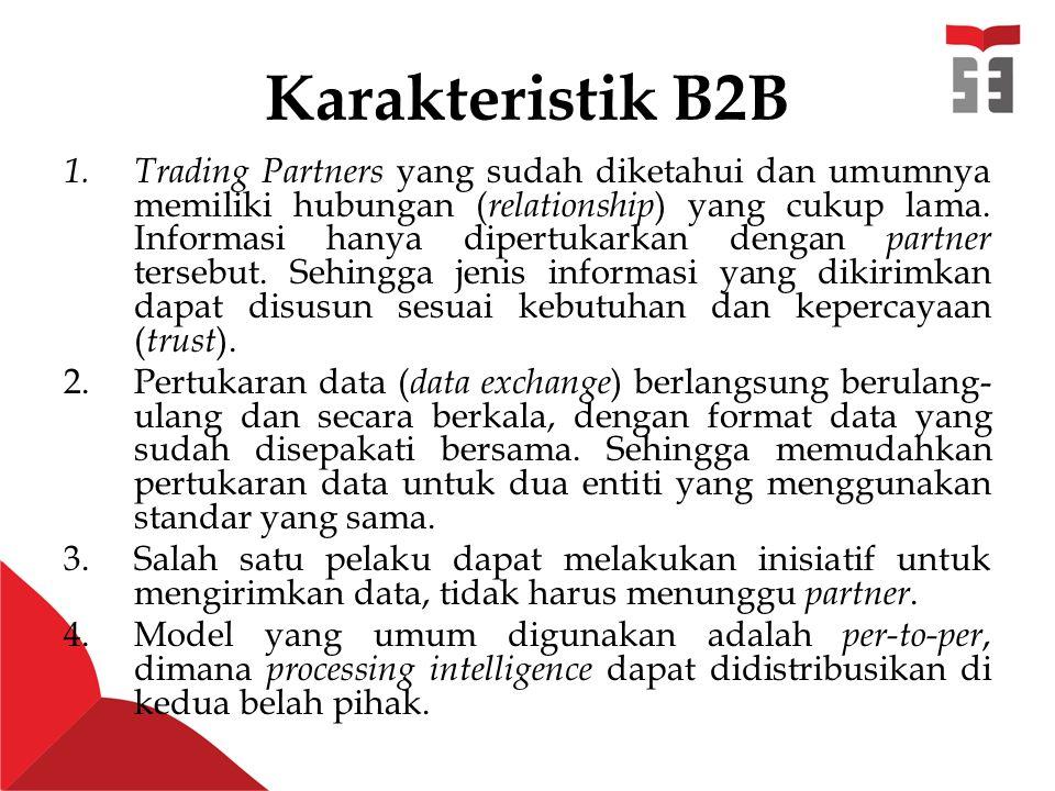 Karakteristik B2B 1.Trading Partners yang sudah diketahui dan umumnya memiliki hubungan ( relationship ) yang cukup lama.