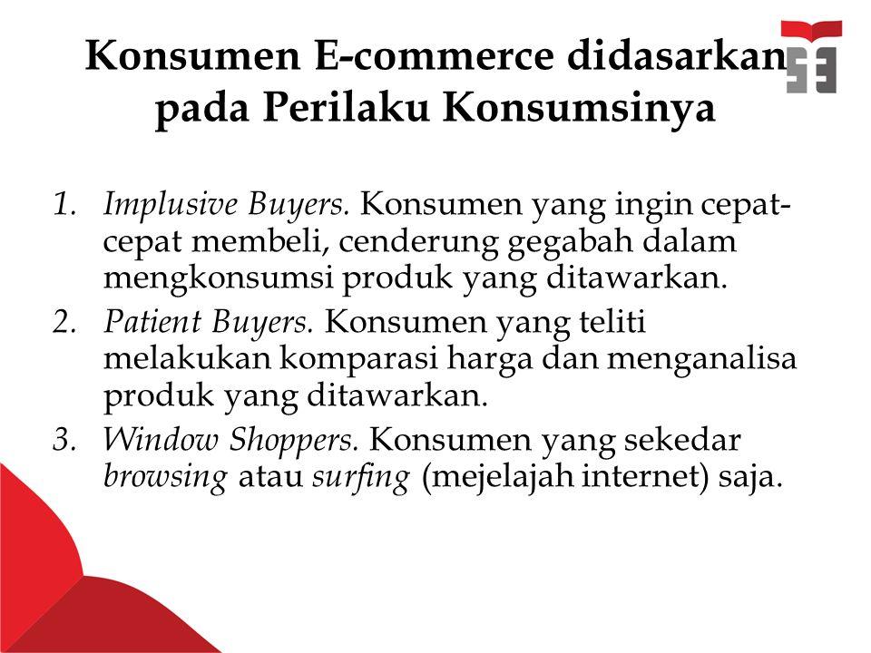 Konsumen E-commerce didasarkan pada Perilaku Konsumsinya 1.Implusive Buyers.