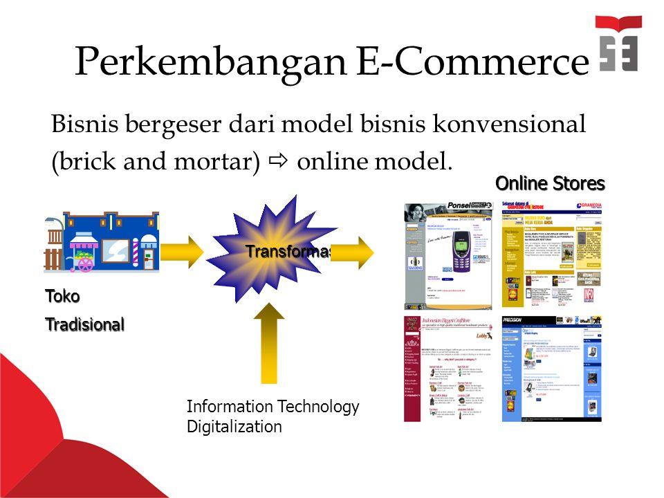 Perkembangan E-Commerce Bisnis bergeser dari model bisnis konvensional (brick and mortar)  online model.
