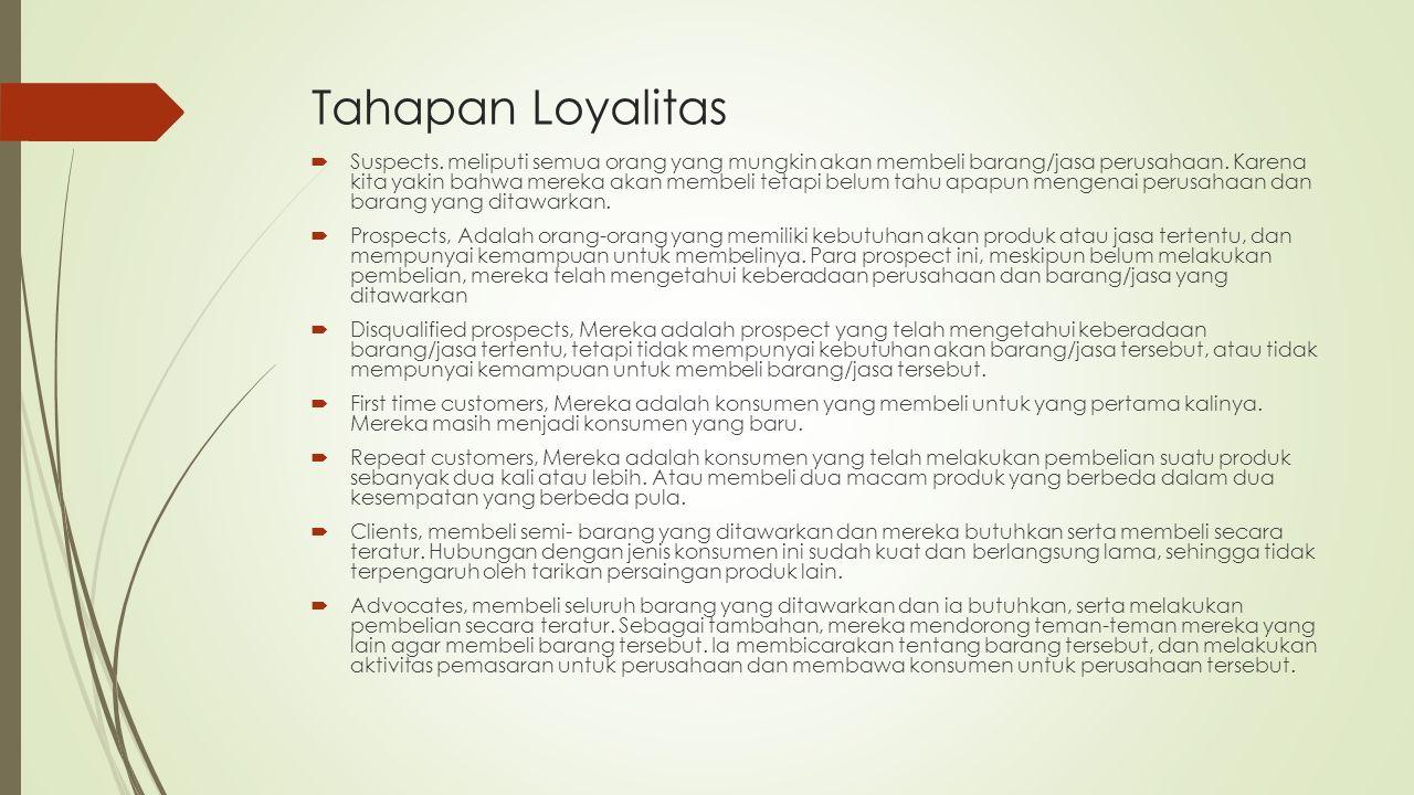 Tahapan Loyalitas  Suspects. meliputi semua orang yang mungkin akan membeli barang/jasa perusahaan. Karena kita yakin bahwa mereka akan membeli tetap