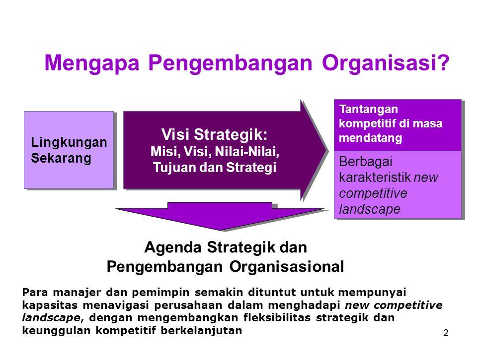 13 Definisi Pengembangan Organisasi (PO) Pengembangan organisasi (organization development) adalah aplikasi dan transfer pengetahuan keperilakuan (behavioral) dan organisasional systemwide pada perubahan, pengembangan, perbaikan dan penguatan strategi, struktur dan proses yang terencana untuk meningkatkan keefektifan organisasi.