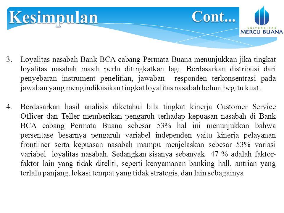 3.Loyalitas nasabah Bank BCA cabang Permata Buana menunjukkan jika tingkat loyalitas nasabah masih perlu ditingkatkan lagi.