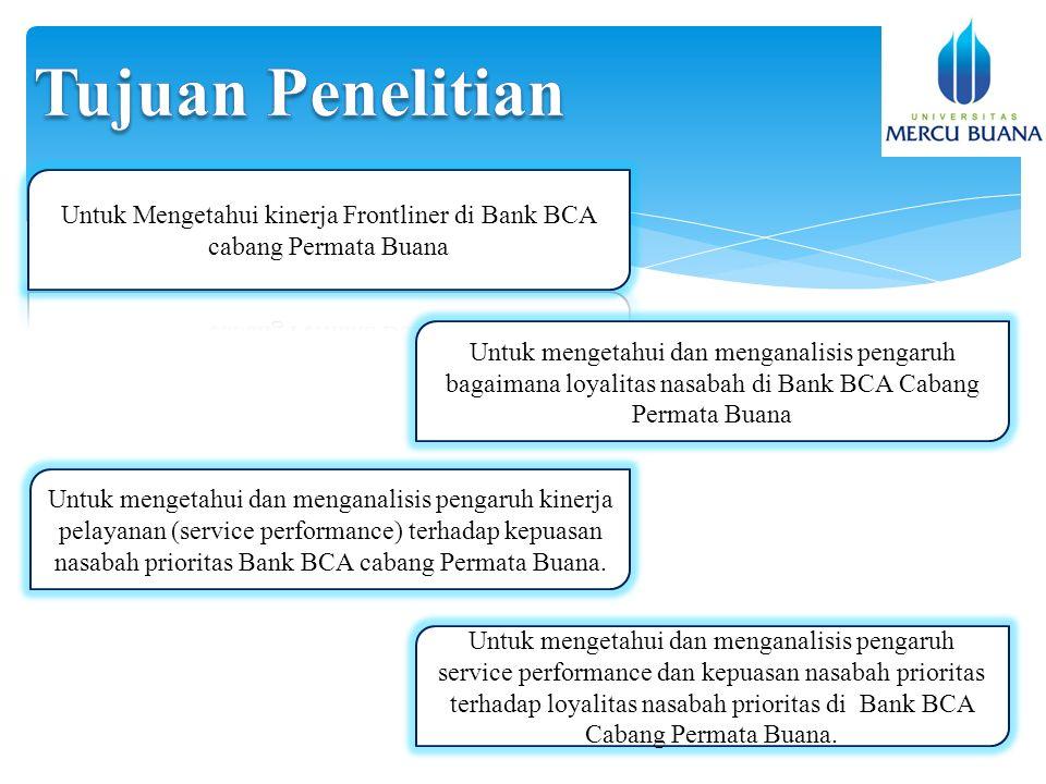 Untuk mengetahui dan menganalisis pengaruh bagaimana loyalitas nasabah di Bank BCA Cabang Permata Buana Untuk mengetahui dan menganalisis pengaruh kinerja pelayanan (service performance) terhadap kepuasan nasabah prioritas Bank BCA cabang Permata Buana.