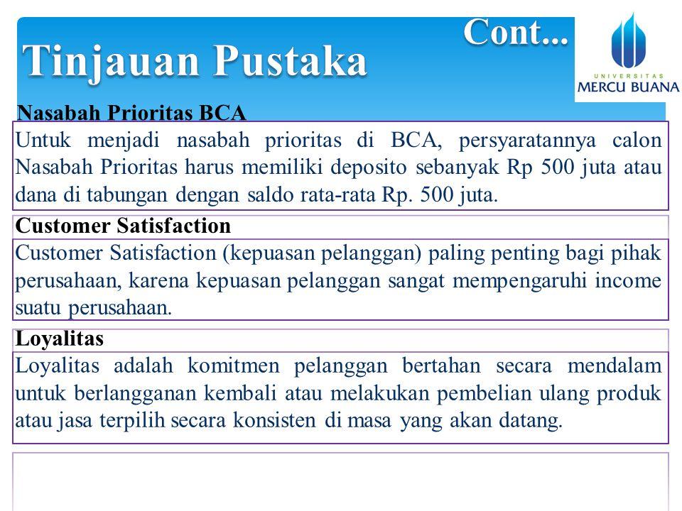 Untuk menjadi nasabah prioritas di BCA, persyaratannya calon Nasabah Prioritas harus memiliki deposito sebanyak Rp 500 juta atau dana di tabungan dengan saldo rata-rata Rp.