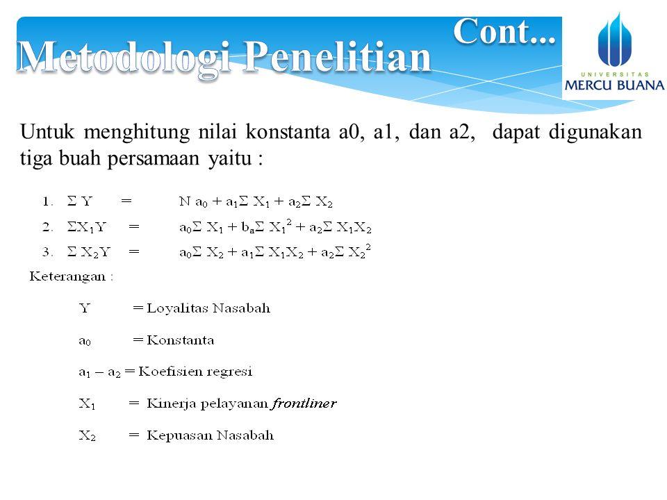 Untuk menghitung nilai konstanta a0, a1, dan a2, dapat digunakan tiga buah persamaan yaitu :
