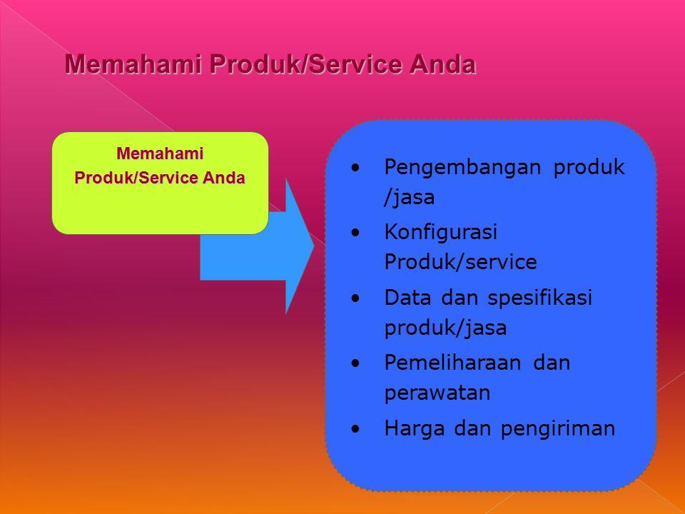 Memahami Produk/Service Anda Pengembangan produk /jasa Konfigurasi Produk/service Data dan spesifikasi produk/jasa Pemeliharaan dan perawatan Harga dan pengiriman