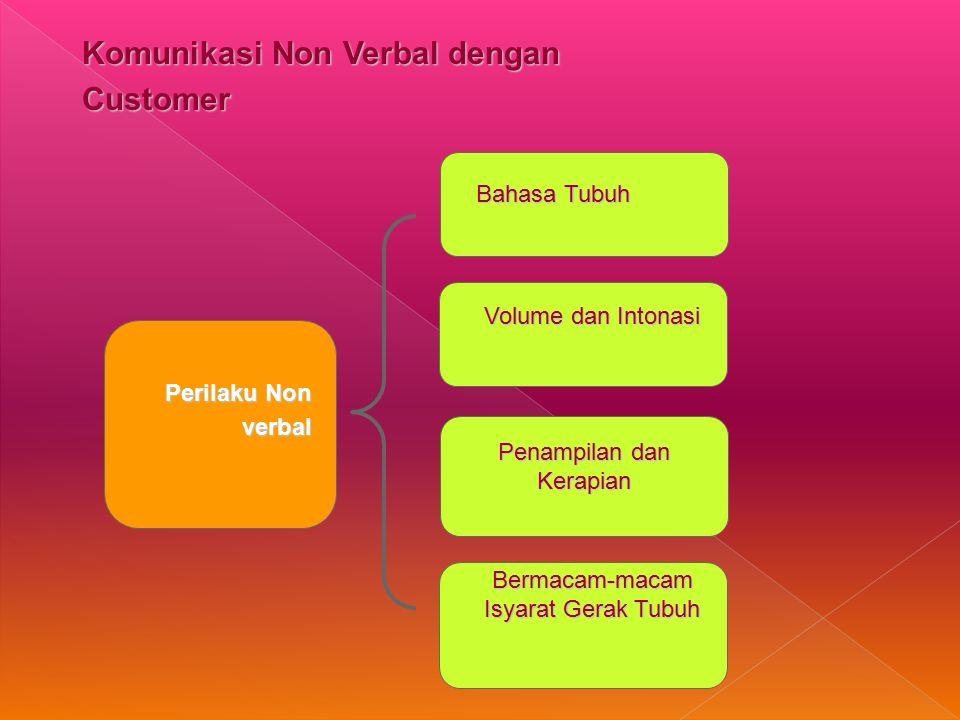Komunikasi Non Verbal dengan Customer Perilaku Non verbal Bahasa Tubuh Volume dan Intonasi Penampilan dan Kerapian Bermacam-macam Isyarat Gerak Tubuh