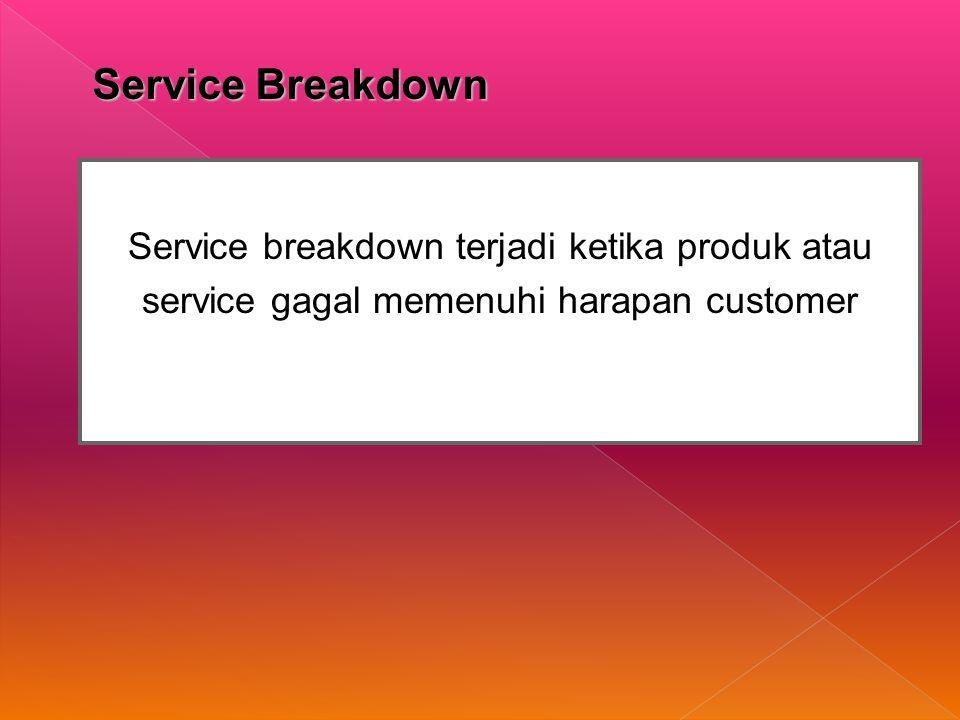 Service Breakdown Service breakdown terjadi ketika produk atau service gagal memenuhi harapan customer