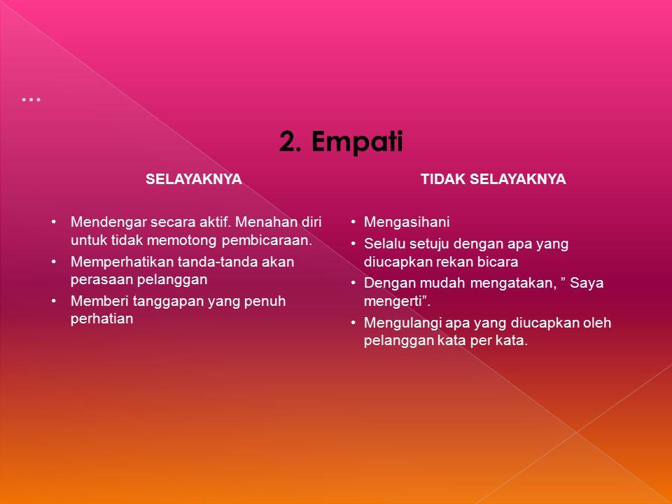 2. Empati SELAYAKNYA Mendengar secara aktif. Menahan diri untuk tidak memotong pembicaraan.