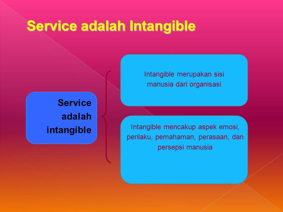 Service adalah Intangible Service adalah intangible Intangible merupakan sisi manusia dari organisasi Intangible mencakup aspek emosi, perilaku, pemahaman, perasaan, dan persepsi manusia