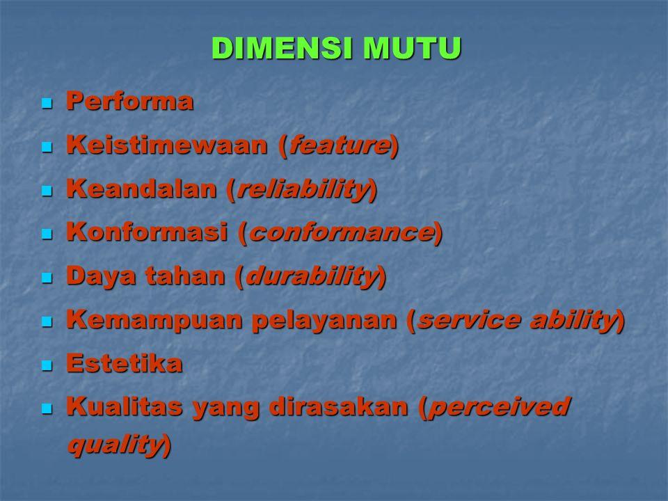 MUTU ? Meskipun tidak ada definisi mengenai mutu yang diterima secara universal, namun dari kelima definisi di atas terdapat beberapa persamaan, yaitu