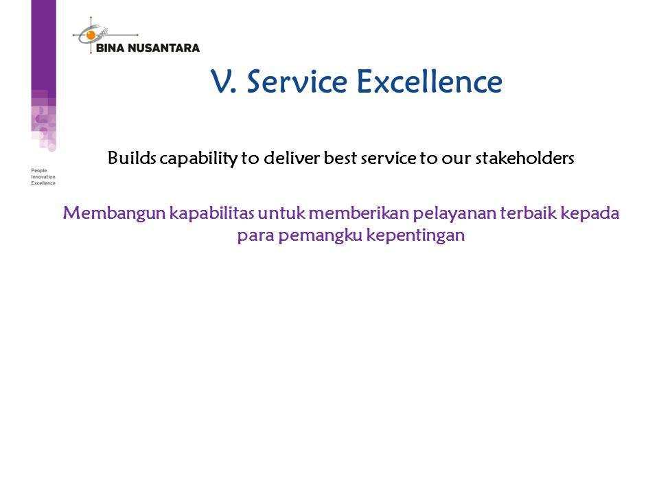 V. Service Excellence Builds capability to deliver best service to our stakeholders Membangun kapabilitas untuk memberikan pelayanan terbaik kepada pa