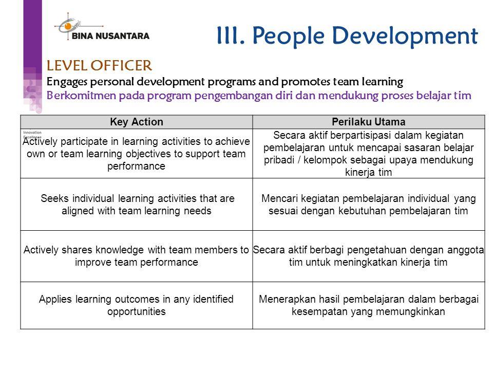LEVEL OFFICER Engages personal development programs and promotes team learning Berkomitmen pada program pengembangan diri dan mendukung proses belajar