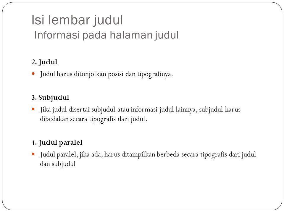 Isi lembar judul Informasi pada halaman judul 2.
