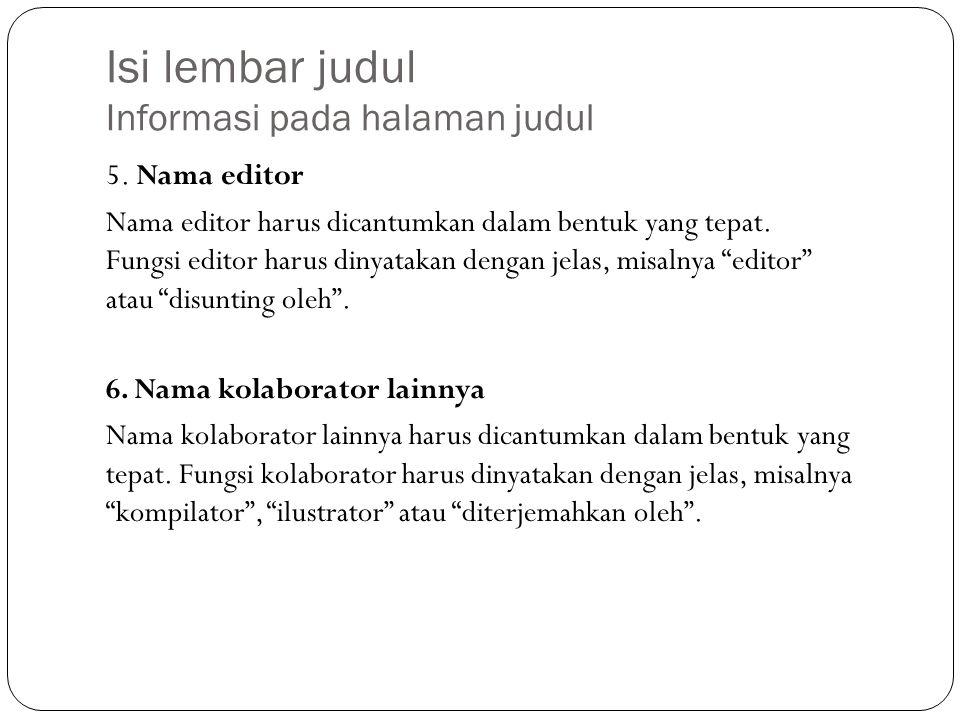 Isi lembar judul Informasi pada halaman judul 5.