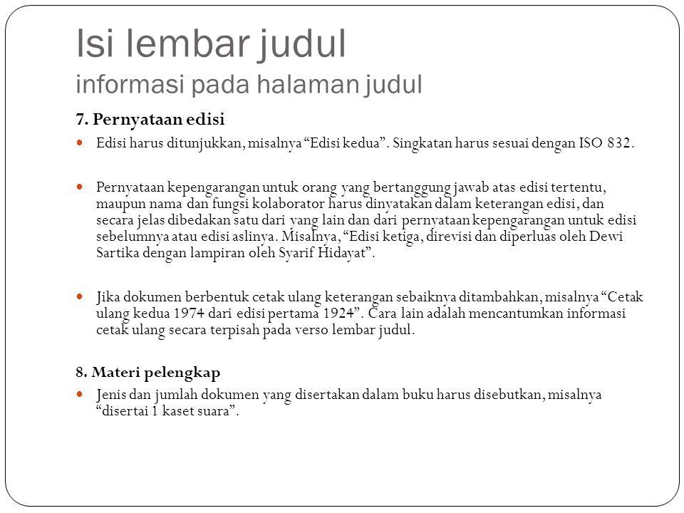Isi lembar judul informasi pada halaman judul 7.