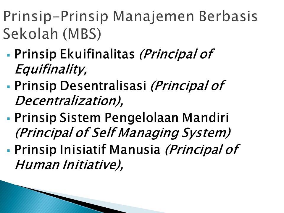  Prinsip Ekuifinalitas (Principal of Equifinality,  Prinsip Desentralisasi (Principal of Decentralization),  Prinsip Sistem Pengelolaan Mandiri (Principal of Self Managing System)  Prinsip Inisiatif Manusia (Principal of Human Initiative),