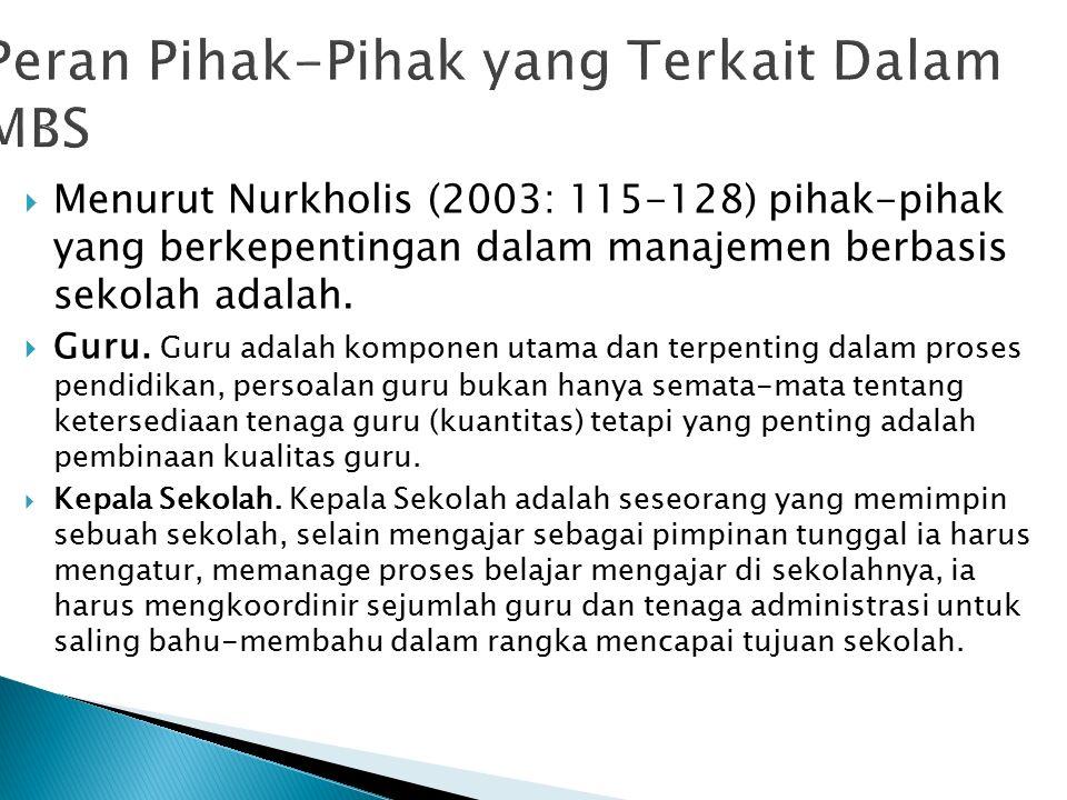  Menurut Nurkholis (2003: 115-128) pihak-pihak yang berkepentingan dalam manajemen berbasis sekolah adalah.