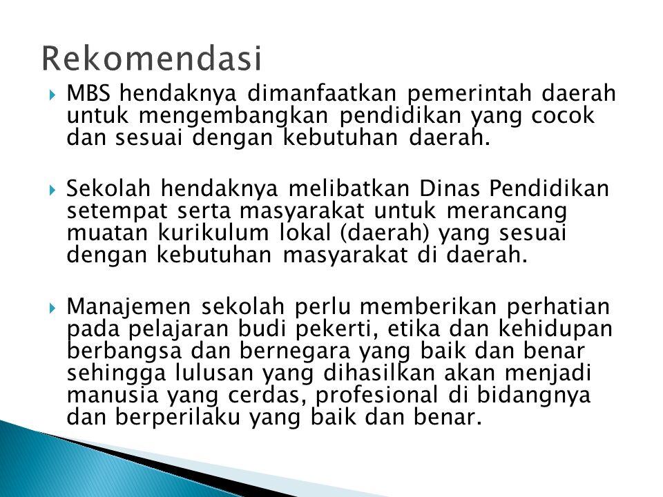  MBS hendaknya dimanfaatkan pemerintah daerah untuk mengembangkan pendidikan yang cocok dan sesuai dengan kebutuhan daerah.