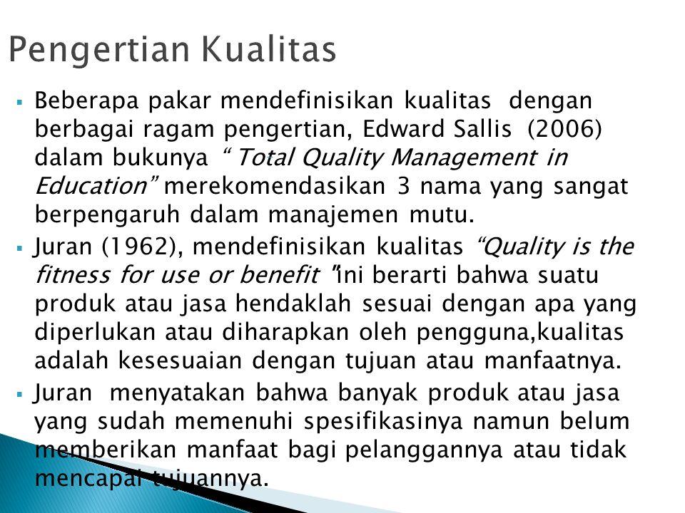  Beberapa pakar mendefinisikan kualitas dengan berbagai ragam pengertian, Edward Sallis (2006) dalam bukunya Total Quality Management in Education merekomendasikan 3 nama yang sangat berpengaruh dalam manajemen mutu.