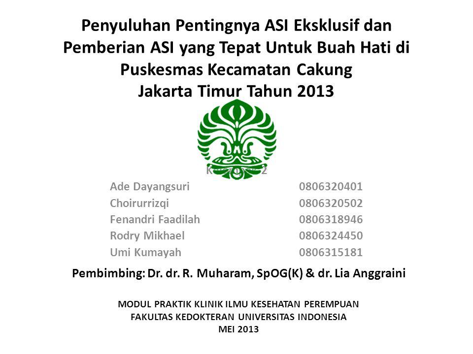 Penyuluhan Pentingnya ASI Eksklusif dan Pemberian ASI yang Tepat Untuk Buah Hati di Puskesmas Kecamatan Cakung Jakarta Timur Tahun 2013 Kelompok 2 Ade Dayangsuri0806320401 Choirurrizqi0806320502 Fenandri Faadilah0806318946 Rodry Mikhael0806324450 Umi Kumayah0806315181 Pembimbing: Dr.