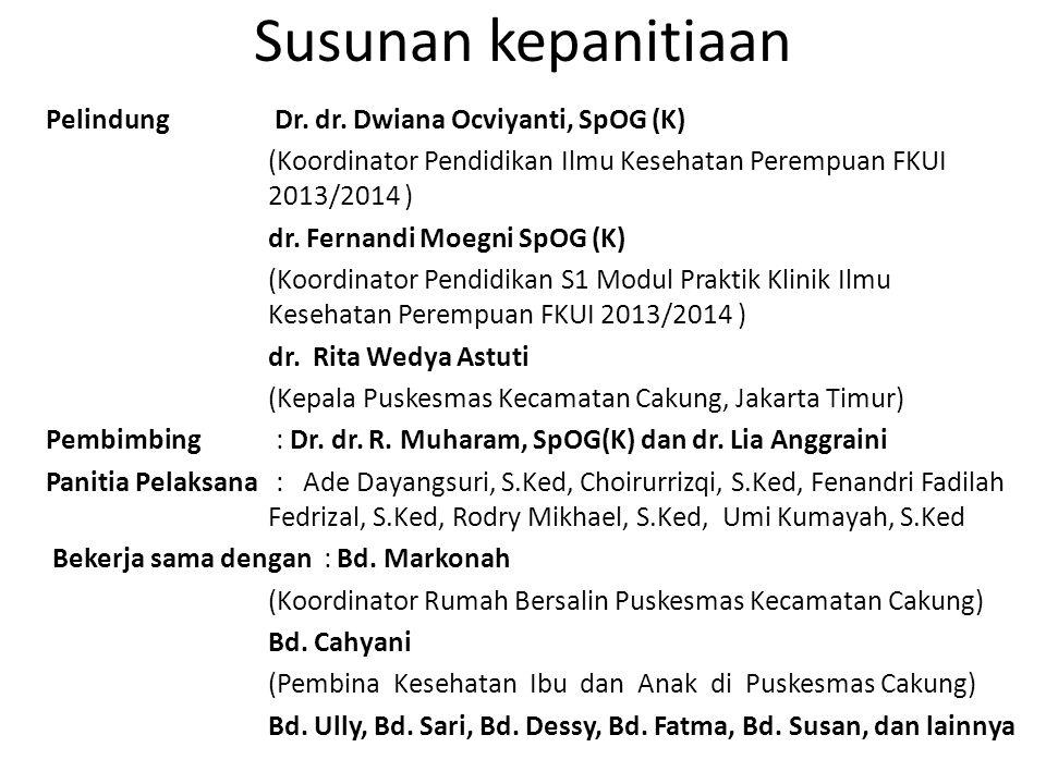 Susunan kepanitiaan Pelindung Dr. dr. Dwiana Ocviyanti, SpOG (K) (Koordinator Pendidikan Ilmu Kesehatan Perempuan FKUI 2013/2014 ) dr. Fernandi Moegni