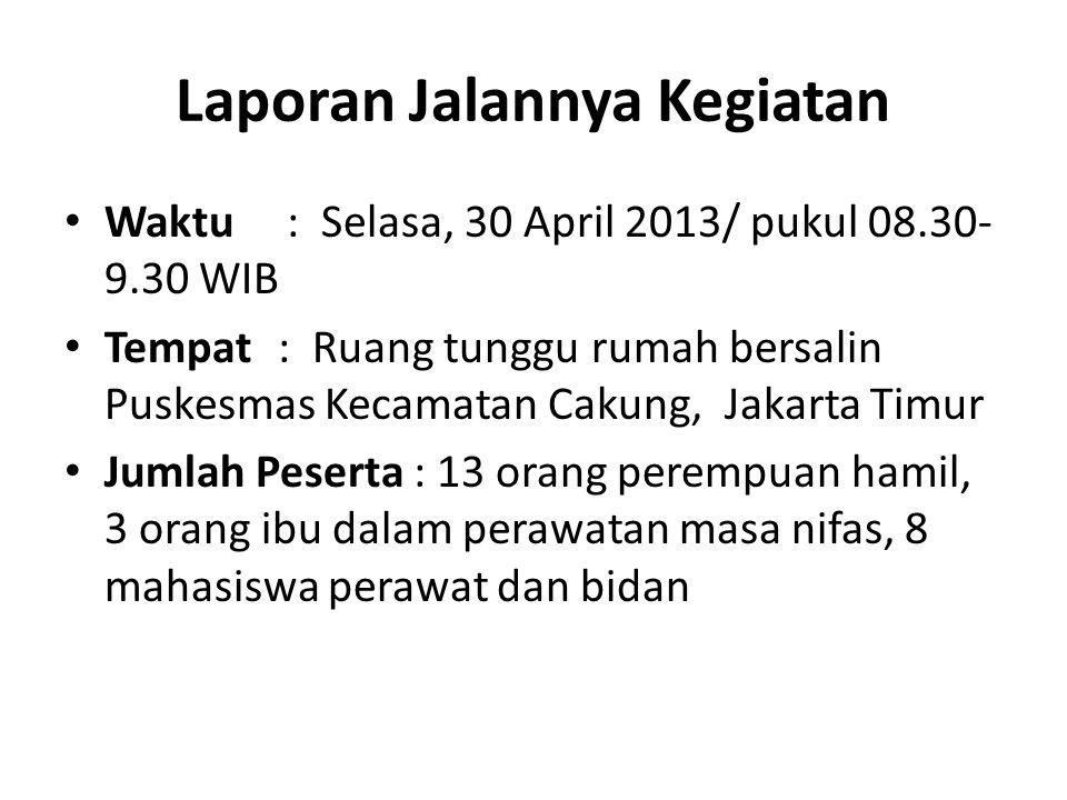 Laporan Jalannya Kegiatan Waktu : Selasa, 30 April 2013/ pukul 08.30- 9.30 WIB Tempat : Ruang tunggu rumah bersalin Puskesmas Kecamatan Cakung, Jakarta Timur Jumlah Peserta : 13 orang perempuan hamil, 3 orang ibu dalam perawatan masa nifas, 8 mahasiswa perawat dan bidan