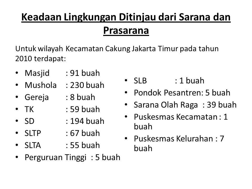 Keadaan Lingkungan Ditinjau dari Sarana dan Prasarana Masjid: 91 buah Mushola: 230 buah Gereja: 8 buah TK : 59 buah SD: 194 buah SLTP: 67 buah SLTA: 55 buah Perguruan Tinggi: 5 buah SLB: 1 buah Pondok Pesantren: 5 buah Sarana Olah Raga : 39 buah Puskesmas Kecamatan : 1 buah Puskesmas Kelurahan : 7 buah Untuk wilayah Kecamatan Cakung Jakarta Timur pada tahun 2010 terdapat:
