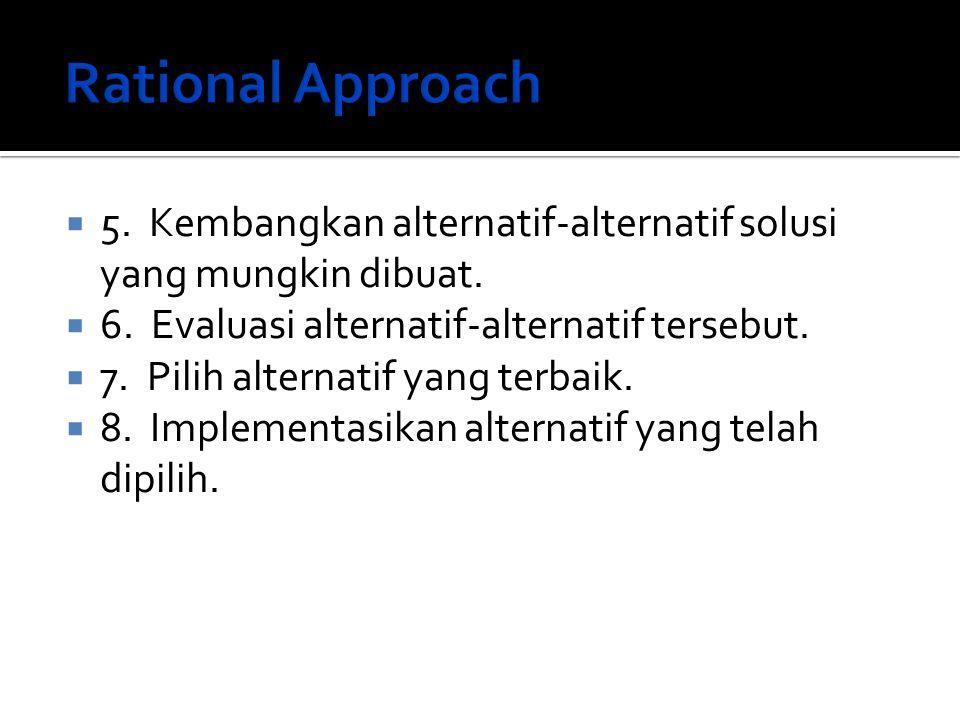  5. Kembangkan alternatif-alternatif solusi yang mungkin dibuat.  6. Evaluasi alternatif-alternatif tersebut.  7. Pilih alternatif yang terbaik. 