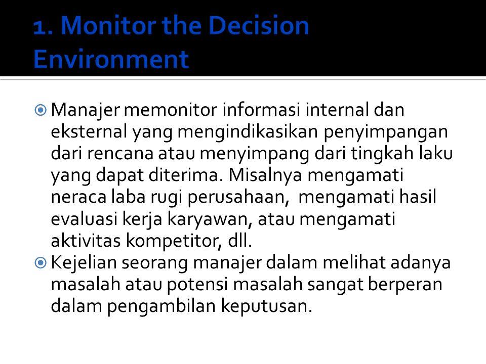  Manajer memonitor informasi internal dan eksternal yang mengindikasikan penyimpangan dari rencana atau menyimpang dari tingkah laku yang dapat diter