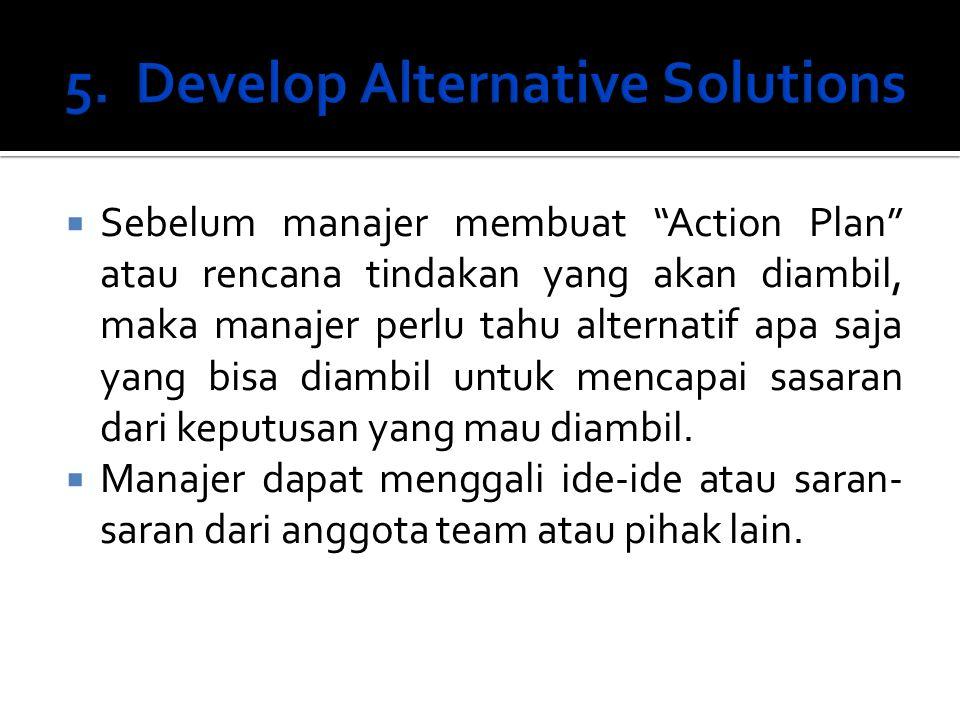 """ Sebelum manajer membuat """"Action Plan"""" atau rencana tindakan yang akan diambil, maka manajer perlu tahu alternatif apa saja yang bisa diambil untuk m"""