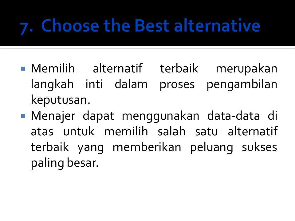  Memilih alternatif terbaik merupakan langkah inti dalam proses pengambilan keputusan.  Menajer dapat menggunakan data-data di atas untuk memilih sa