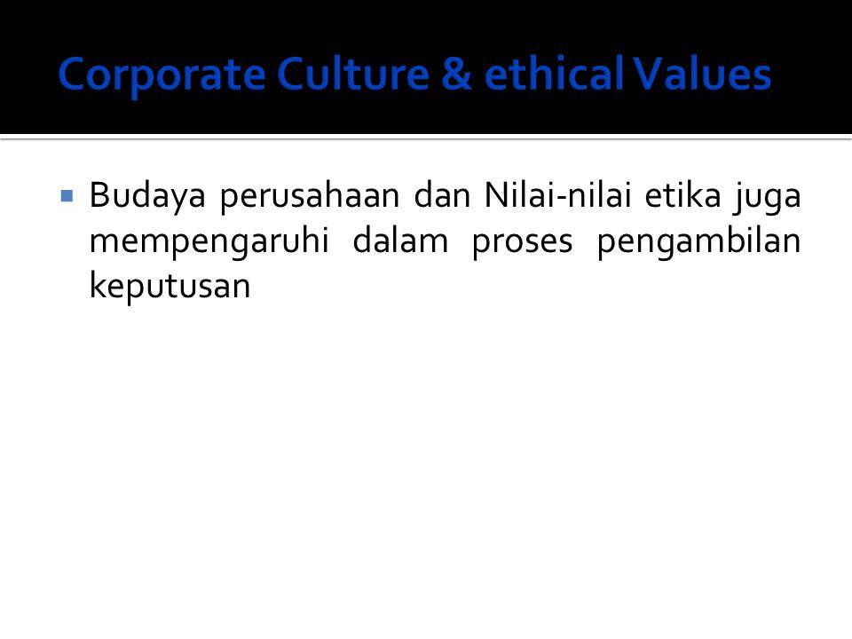  Budaya perusahaan dan Nilai-nilai etika juga mempengaruhi dalam proses pengambilan keputusan