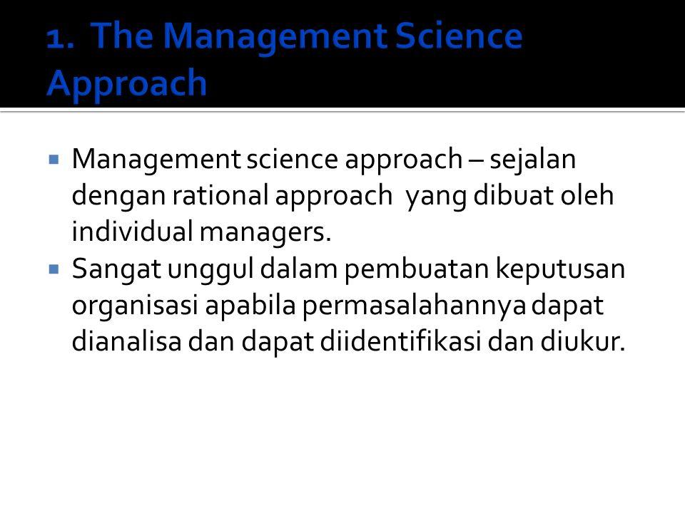  Management science approach – sejalan dengan rational approach yang dibuat oleh individual managers.  Sangat unggul dalam pembuatan keputusan organ