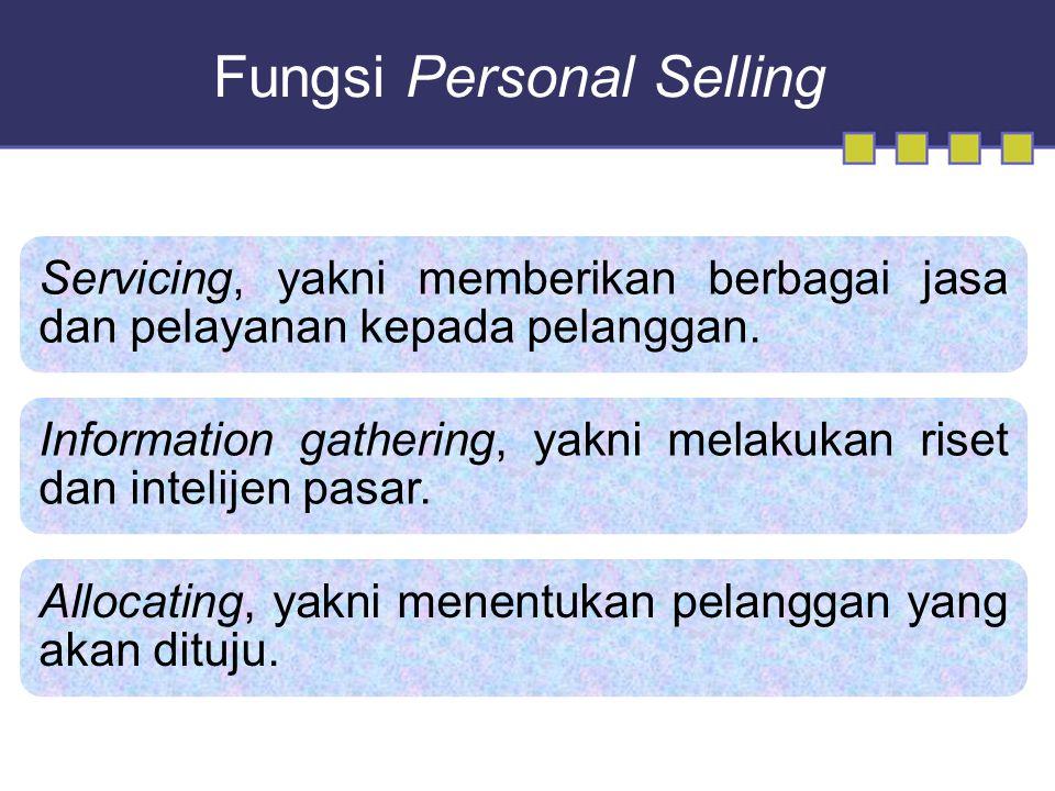 Fungsi Personal Selling Servicing, yakni memberikan berbagai jasa dan pelayanan kepada pelanggan.