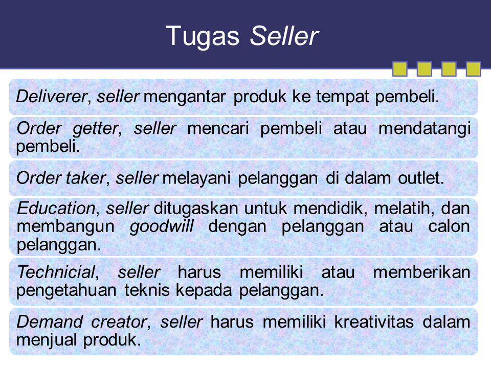 Tugas Seller Deliverer, seller mengantar produk ke tempat pembeli.