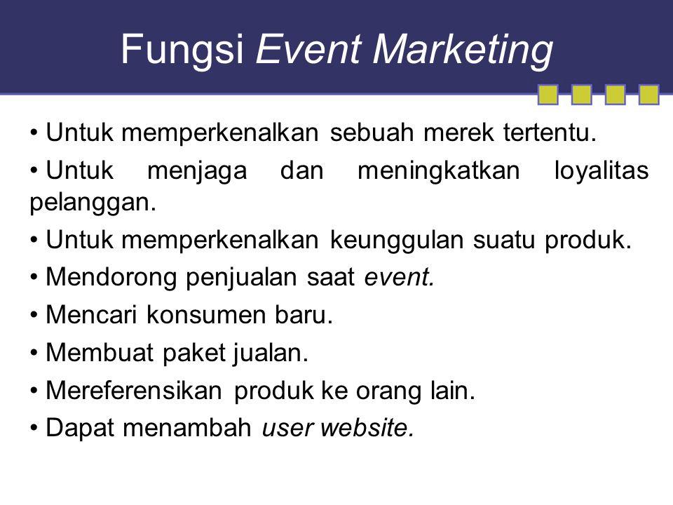 Fungsi Event Marketing Untuk memperkenalkan sebuah merek tertentu.