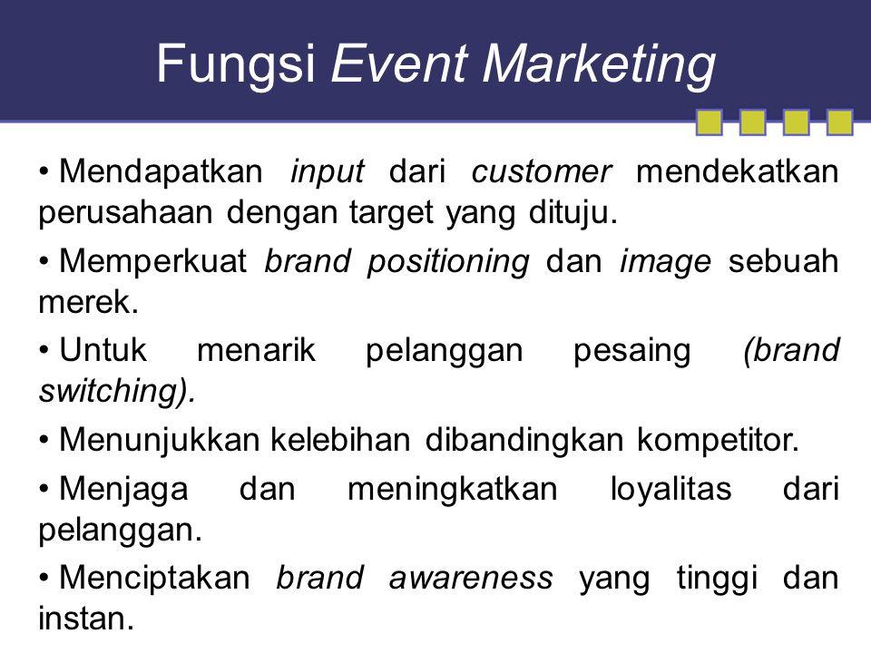 Fungsi Event Marketing Mendapatkan input dari customer mendekatkan perusahaan dengan target yang dituju.