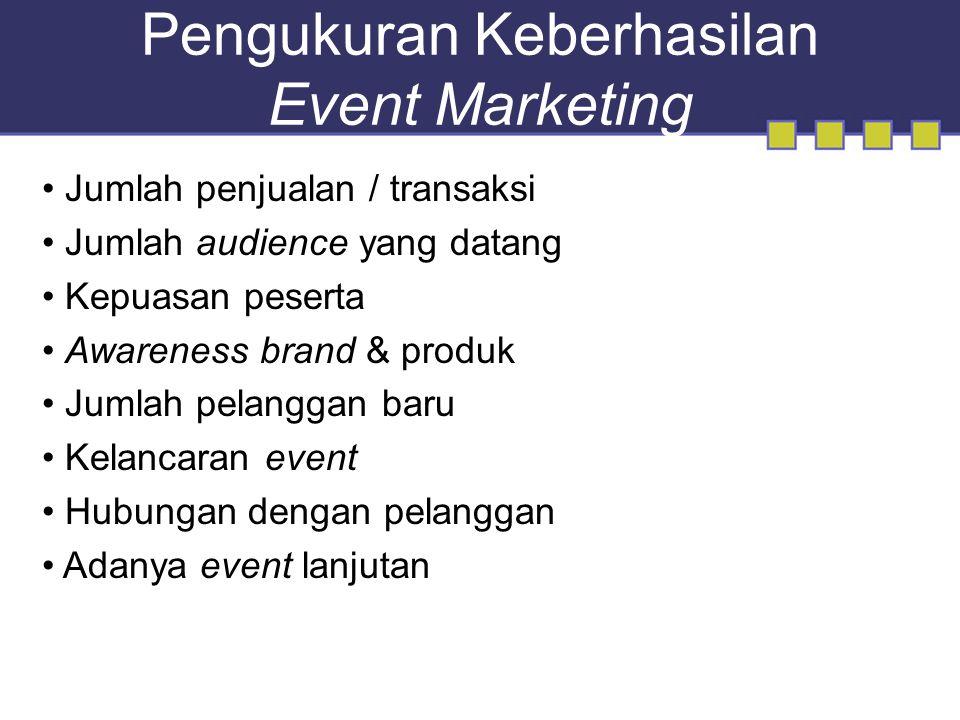 Pengukuran Keberhasilan Event Marketing Jumlah penjualan / transaksi Jumlah audience yang datang Kepuasan peserta Awareness brand & produk Jumlah pelanggan baru Kelancaran event Hubungan dengan pelanggan Adanya event lanjutan