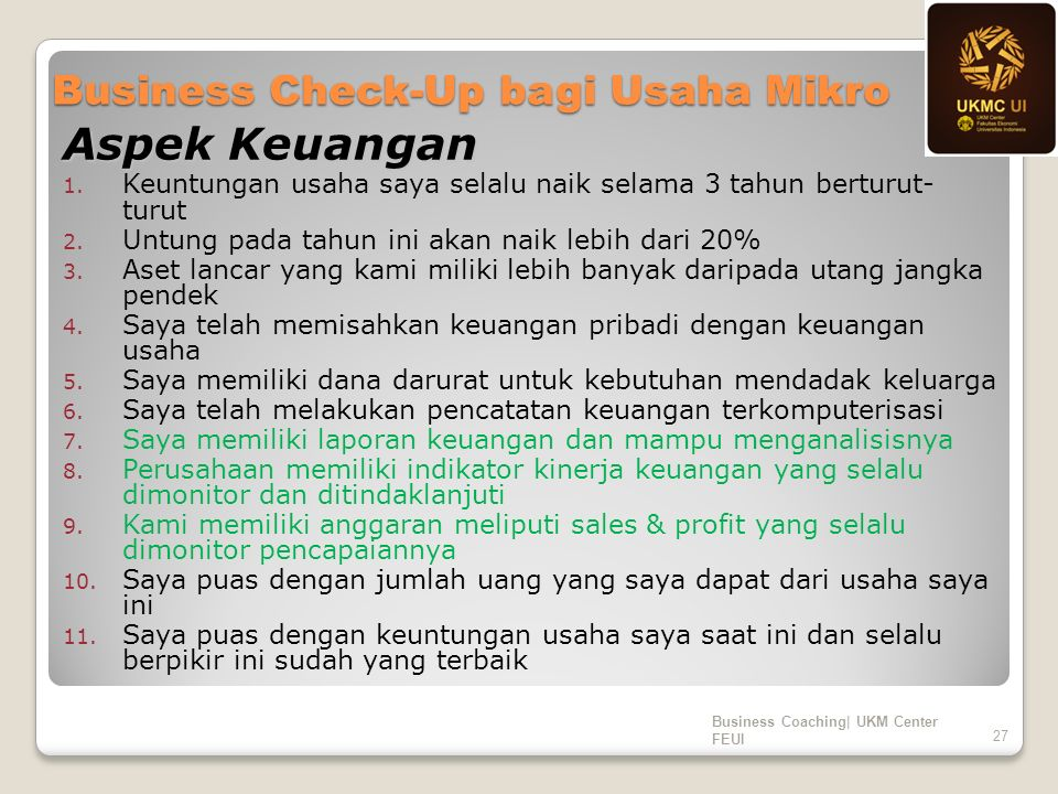 Business Check-Up bagi Usaha Mikro Aspek Keuangan 1.