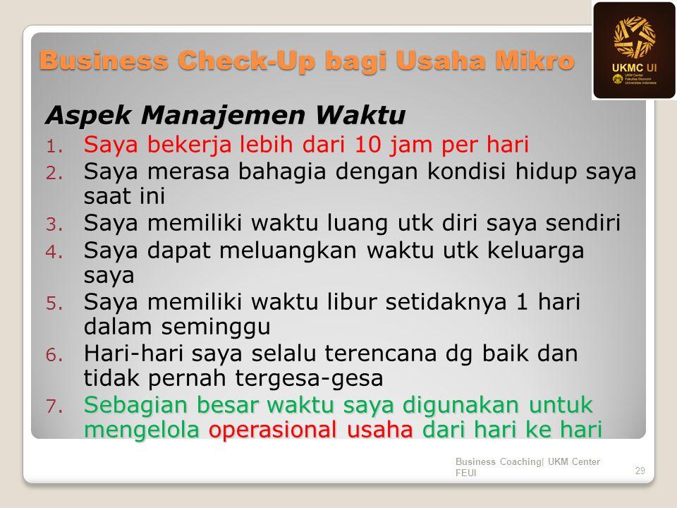 Business Check-Up bagi Usaha Mikro Aspek Manajemen Waktu 1. Saya bekerja lebih dari 10 jam per hari 2. Saya merasa bahagia dengan kondisi hidup saya s