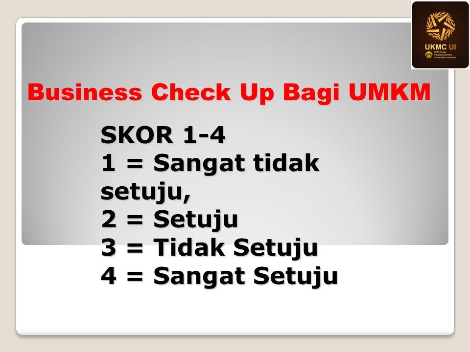 Business Check Up Bagi UMKM SKOR 1-4 1 = Sangat tidak setuju, 2 = Setuju 3 = Tidak Setuju 4 = Sangat Setuju