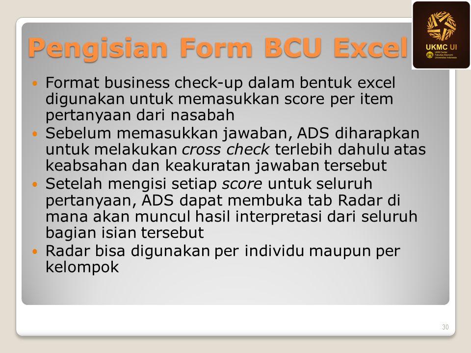 Pengisian Form BCU Excel Format business check-up dalam bentuk excel digunakan untuk memasukkan score per item pertanyaan dari nasabah Sebelum memasuk